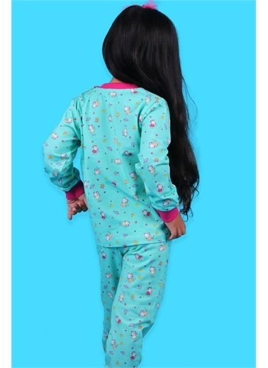 Breeze Kız Çocuk Pijama Takımı Fareli Yeşil (1.5 Yaş) Yeşil
